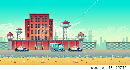Transporting prisoners to jail vector concept 53196752