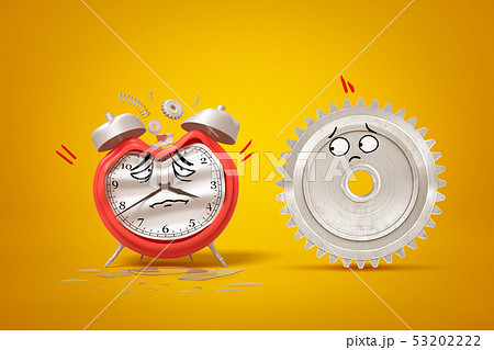 3d rendering of cartoon faced damaged alarm clock and silver gear wheel on yellow background 53202222