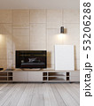 Modern TV stand with shelves and a TV over on the 53206288