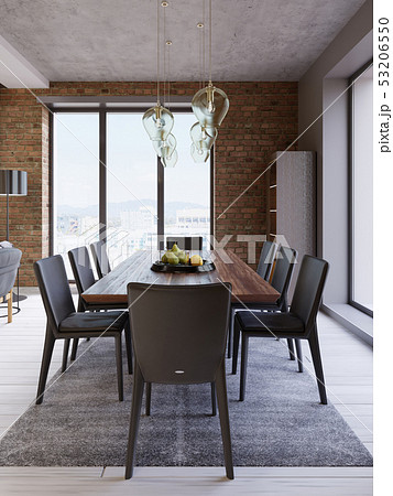 Cozy loft with dining table, chairs and storage 53206550
