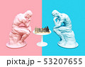 Two Thinkers Pondering The Chess Game On Pink And Blue Backgrounds 53207655