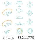 3色の線画 アイコン 飛行機 53211775