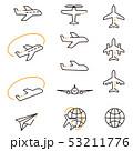 3色の線画 アイコン 飛行機 黒基調 53211776