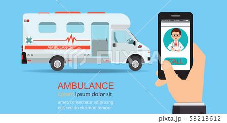 Call ambulance car via mobile phone. 53213612