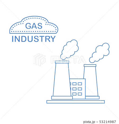Gas processing plant with smoking chimneys 53214987