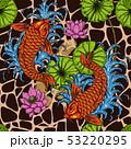 Koi fish with lotus seamless pattern  53220295
