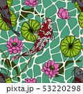 Koi fish with lotus leaf seamless pattern  53220298