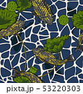 Koi fish with lotus seamless pattern by hand 53220303
