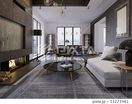 Luxury duplex loft-style apartment, contemporary 53223461