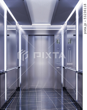 Futuristic design of an elevator cabin with 53236118