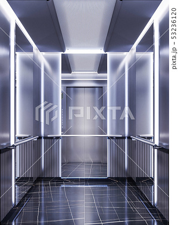 Futuristic design of an elevator cabin with 53236120