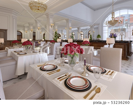 Beautiful interior of the restaurant in a modern 53236260