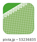レース素材 コースター風 フレーム チェック柄 グリーン 53236835