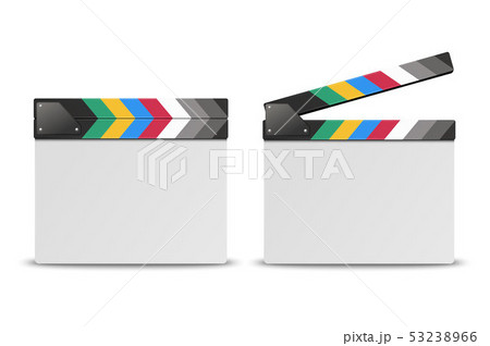 Vector 3d Realistic Blank Closed and Opened Movie Film Clap Board Icon Set Closeup Isolated on White 53238966