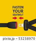 Vector Background with 3d Realistic Unblocked Passenger Seat Belt Clopeup Isolated on Yellow. Fasten 53238970