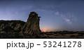 三浦半島 毘沙門海岸に昇る天の川と月パノラマ合成 53241278