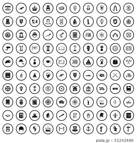 100 history icons set, simple style 53242690