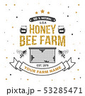 Honey farm badge. Vector. Concept for shirt, print, stamp or tee. Vintage typography design with bee 53285471