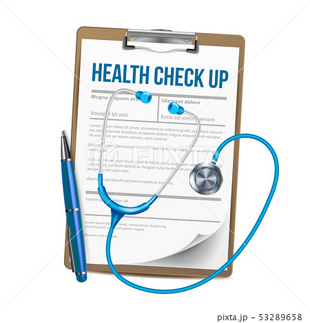 Clipboard With List Of Health Check Up Vector 53289658