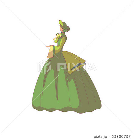 Brunette woman in a green old-fashioned dress and hat. Vector illustration on white background. 53300737