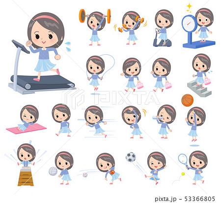 Blue clothing girl_exercise 53366805