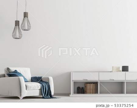 Contemporary interior with white furniture with 53375254