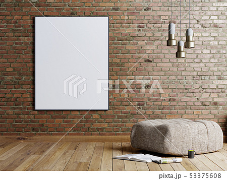 Mock up poster in a brick wall background in a 53375608