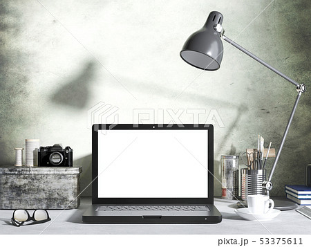 Mockup laptop computer on desk in living room 53375611