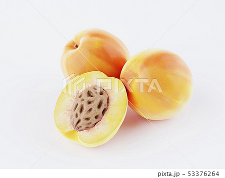 Isolated apricot. Three fresh apricot fruit on 53376264