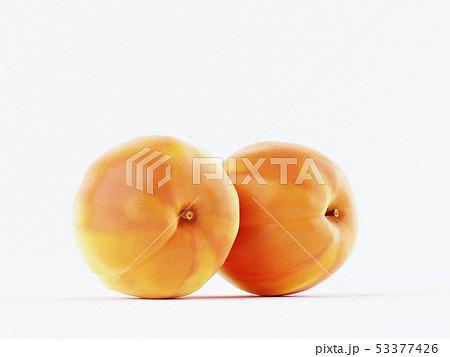 Isolated peach. Three fresh peach fruit on white 53377426