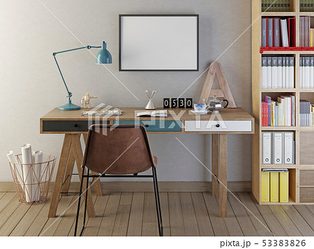 Mockup poster blank in the room warm colors. 53383826