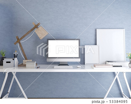 Hipster desktop with a mockup screen monitor. 53384095