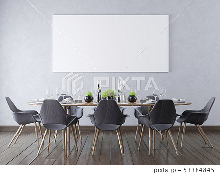 Mock up blank poster on a wall in a modern dining 53384845