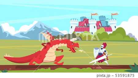 Medieval cartoon scene. Dragon and knight warrior fight, monster and prince fairy tale flat 53591875