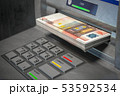 ATM machine and euro. Withdrawing  50 euro 53592534