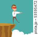 blindfolded businessman walk to the cliff. Business concept 53595472