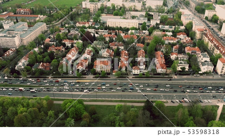 Aerial view of a traffic jam in residential area of a European city 53598318