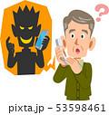 電話を使った詐欺と騙されそうなシニアの男性 53598461