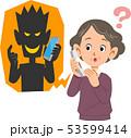 電話を使った詐欺と騙されそうなシニアの女性 53599414