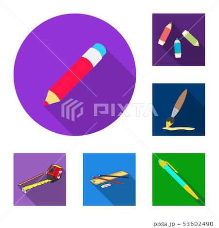Vector illustration of pencil and sharpen sign. Set of pencil and color stock symbol for web. 53602490