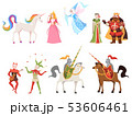 Fairy tales characters. Wizard knight queen king princess prince medieval fairy castle dragon magic 53606461