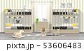 Modern kids bedroom with wooden bunk beds 53606483