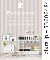 Modern kids bedroom with wooden bunk bed 53606484