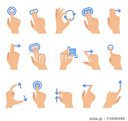 Touch screen hand gestures. Touching screen devices communication, drag using finger gesture for 53606486