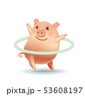 Cute pig exercing by playing hula hoop. 53608197