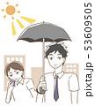 日傘をさす男性 イラスト 53609505
