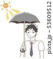 日傘をさす男性 イラスト 53609512