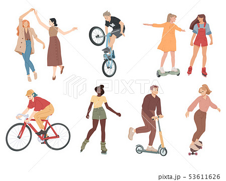 People. Summer outdoors activities. Walking, dancing, riding bicycle, playing, skateboarding. 53611626