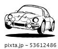 フレンチヒストリックスポーツ 塗り絵風 ジャンプ  自動車イラスト  53612486
