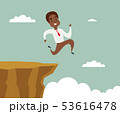 black african american businessman running and jump over cliff gap to success, overcome the 53616478